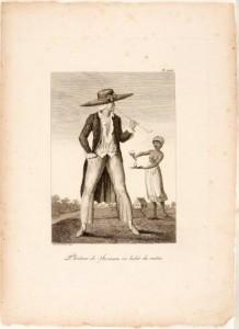 Gravure waarop ongelijkheid tussen de blanke slaveneigenaar en de zwarte slaaf is weergegeven. Door J.G. Stedman, 1798. Tropenmuseum, Amsterdam. Coll.nr. 3728-544b-25